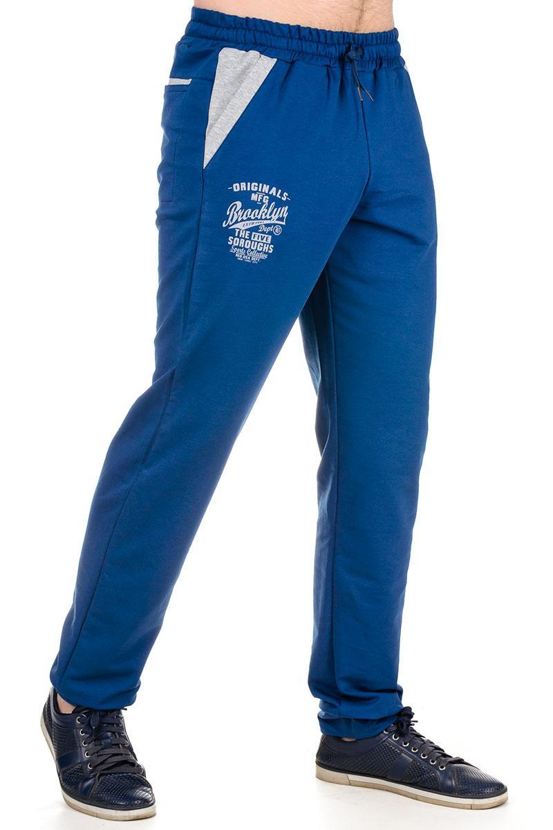db10405c Спортивные штаны мужские трикотажные синие брюки на резинке внизу (манжет)  Бруклин - Интернет магазин