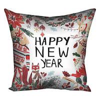 Подушка з принтом Happy New Year біла (3P_17NG079)