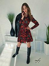Платье-рубашка принт розы
