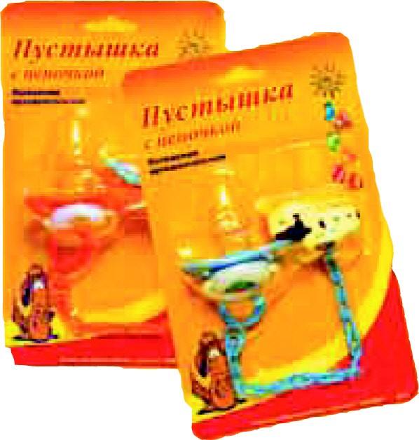 Пустышка латексная ортодонтальная с цепочкой на блистере, арт. 065
