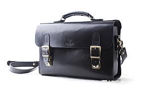 Сумка-портфель шкіряна ручної роботи «Shoulder bag long». Чорна