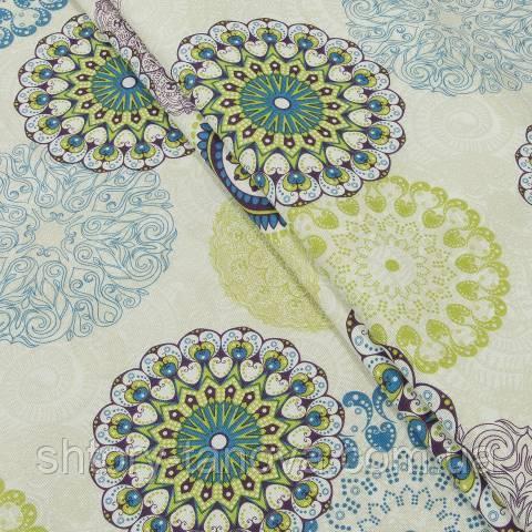 Декоративна тканина, принт зелено-салатовий