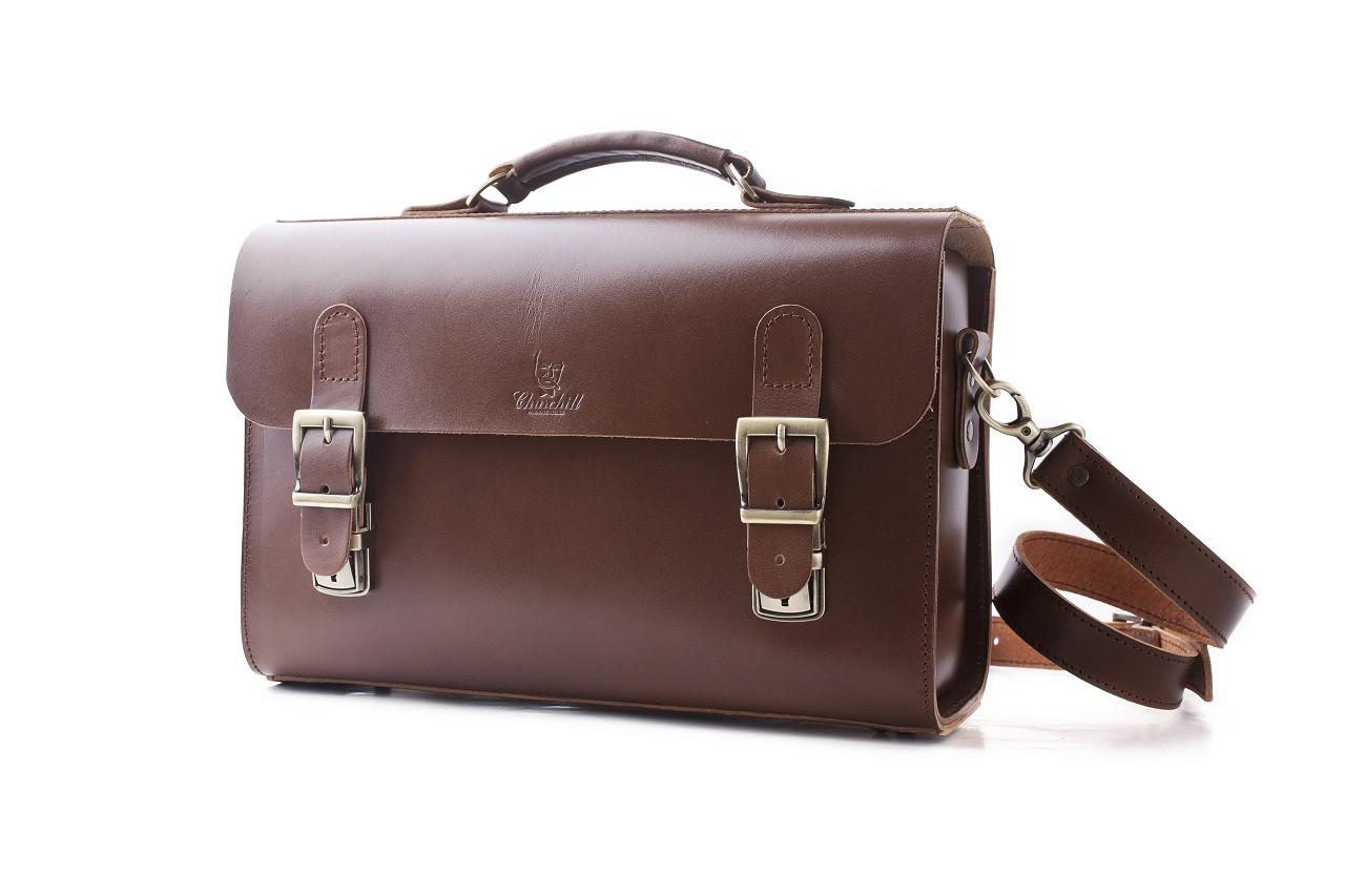 Сумка-портфель кожаная ручной работы «Shoulder bag long». Коричневая