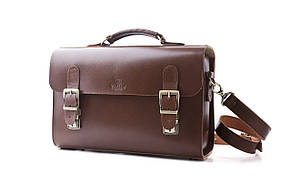 Сумка-портфель шкіряна ручної роботи «Shoulder bag long». Коричнева