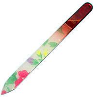 Пилка Стеклянная Средняя для Ногтей Разноцветная в Цветочек