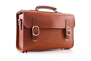 Сумка-портфель шкіряна ручної роботи «Shoulder bag long». Коньячна