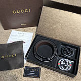 Gucci Leather Belt with Interlocking G Buckle Black and Silver with Web