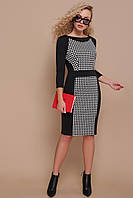 Офисное черное платье по фигуре до колен с отделкой в гусиную лапку Шанель д/р