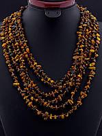 Бусы женские  из тигрового глаза      цвет коричневый 45 см. №9036610