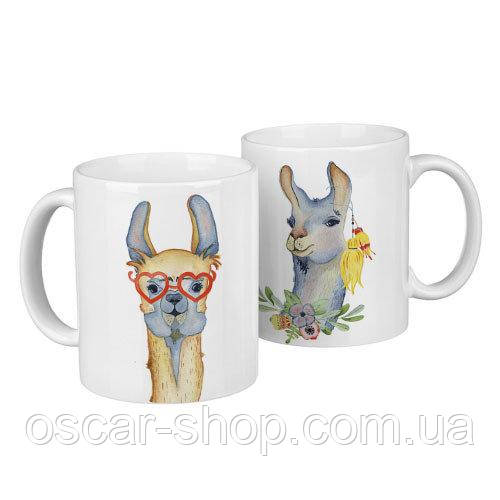 Чашки парные Ламы  / чашки на подарок / набор чашек 330 мл