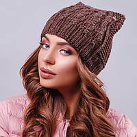 Жіноча коричнева шапка з вушками, фото 1