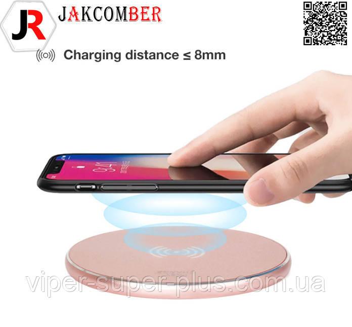 Беспроводная зарядка JAKCOMBER YC-06  на телефон с USB с мини портом модного розового цвета