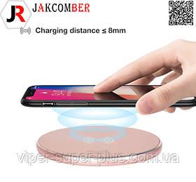 Беспроводная зарядкаJAKCOMBER YC-06  на телефон с USBс мини портом модного розового цвета
