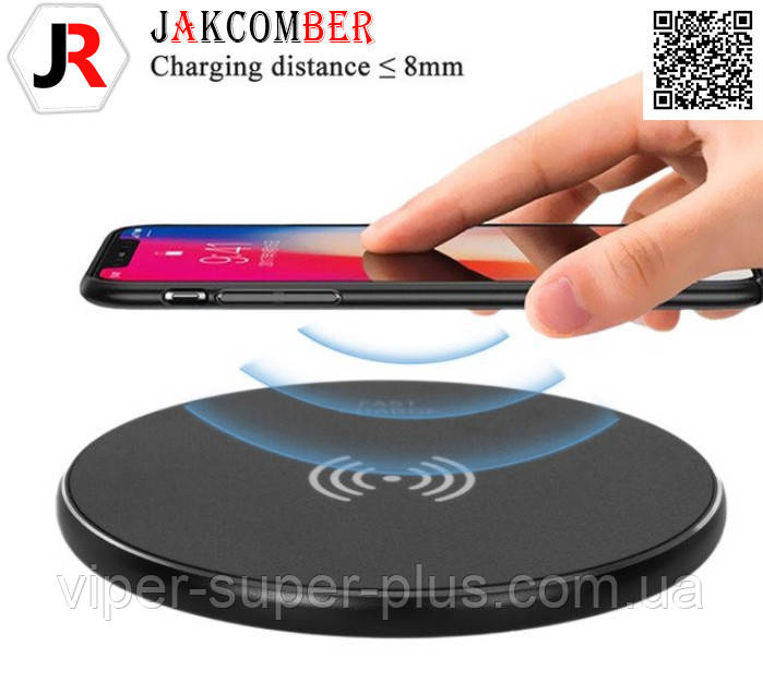 Беспроводная зарядка JAKCOMBER YC-06  на телефон с USB с мини портом матового черного цвета