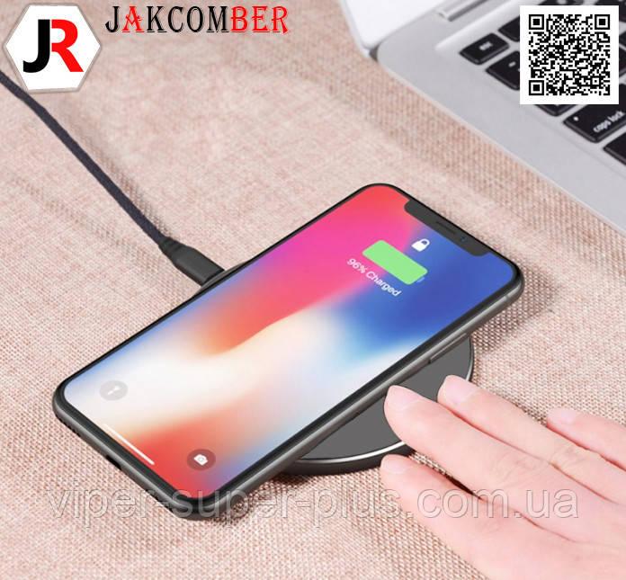 Бездротова зарядка JAKCOMBER YC-06 на телефон з USB з міні портом стильного сірого кольору
