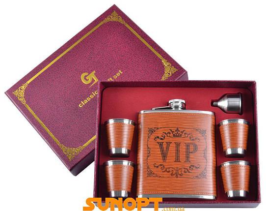 Подарочный набор фляга, 4 стопки, лейка VIP (кожа) №TZ-08-1, фото 2
