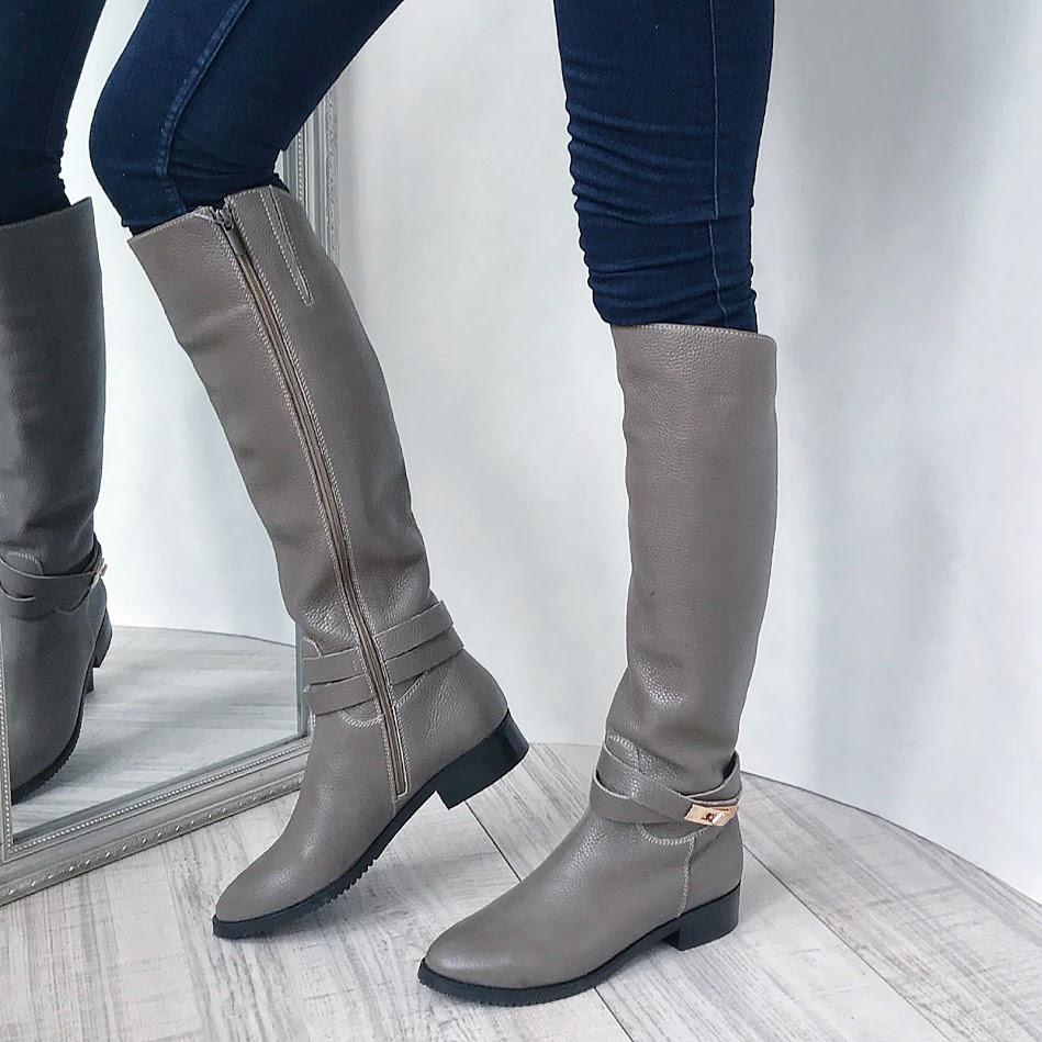 187f3bffe Бежевые кожаные сапоги в стиле H@rmes низкий ход осень/зима: продажа ...