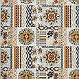 Этно декоративная ткань для скатерти, диванных подушек - национальный орнамент оранжевый, фото 2