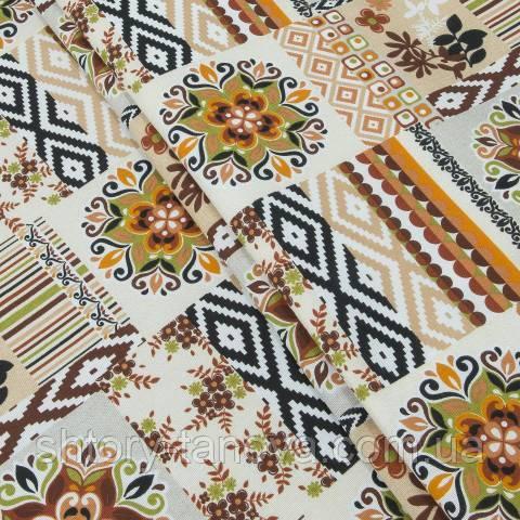 Этно декоративная ткань для скатерти, диванных подушек - национальный орнамент оранжевый