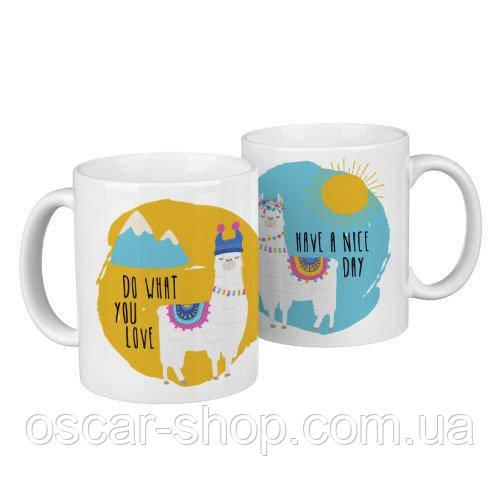 Чашки парні Лами / чашки на подарунок / набір чашок 330 мл