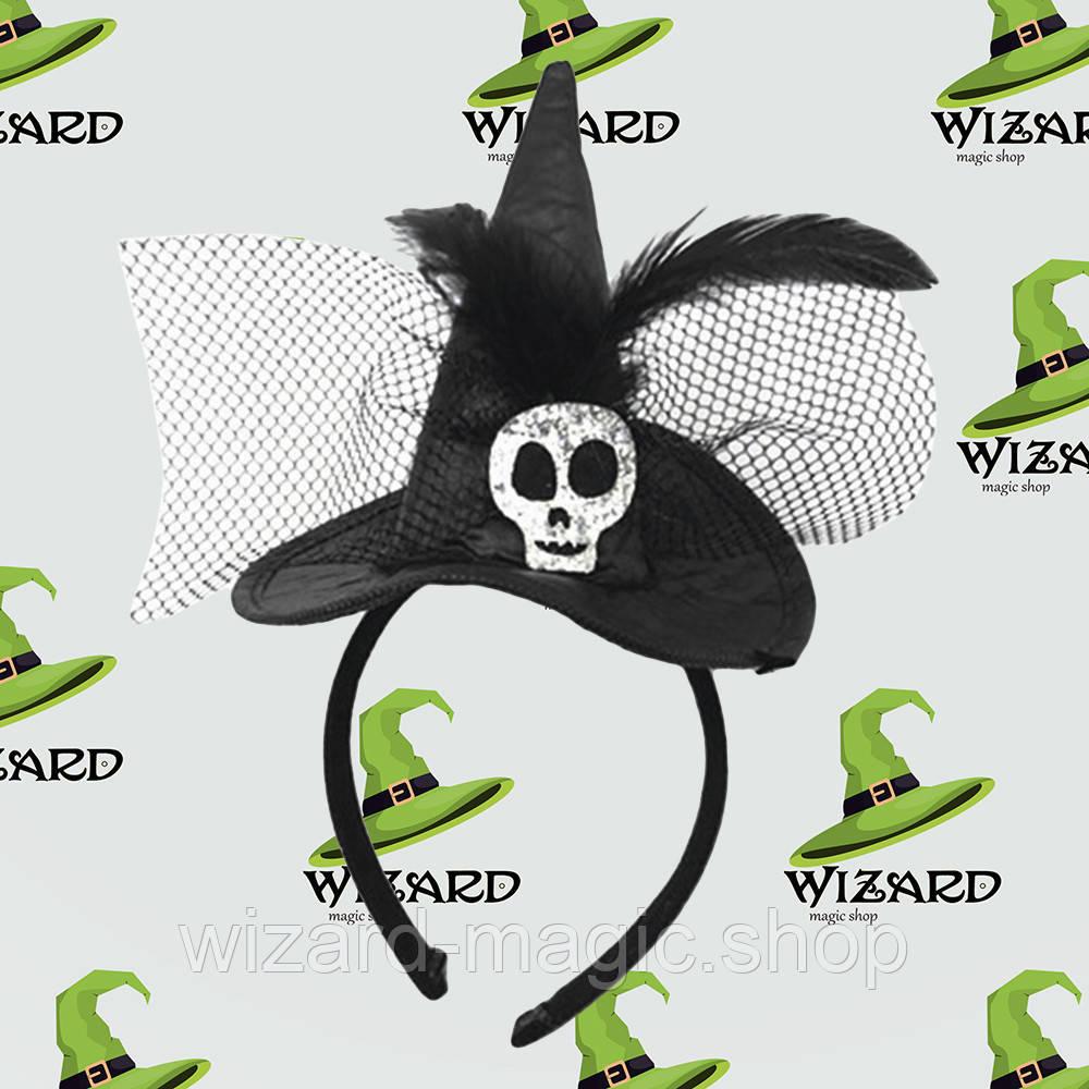 Шляпка на ободке Ведьмочки с черепом черная