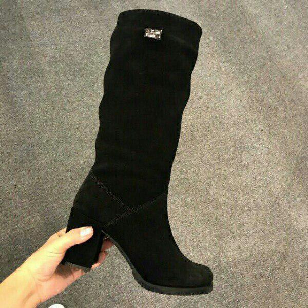 161a4dd5d Черные замшевые сапоги на устойчивом каблуке (осень, зима): продажа ...