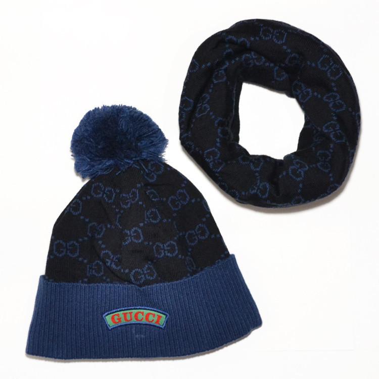 мужской комплект набор вязаная шапка с бубоном и шарф хомут Gucci