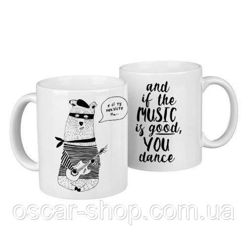 Чашки парні Закоханий мишко / чашки на подарунок / набір чашок 330 мл