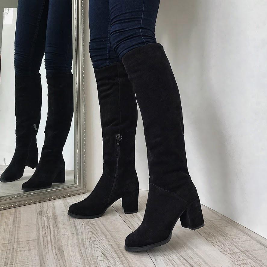 Женские черные сапоги из натуральной замши на толстом каблуке ЛЮКС качество fddf7c51a00