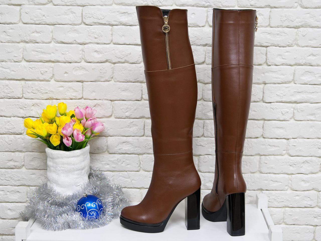 b4cffc7b568e Коричневые кожаные ботфорты на высоком каблуке Италия осень/зима - Bigl.ua