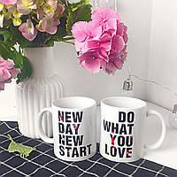 Чашки парні New day / чашки на подарунок / набір чашок 330 мл, фото 1