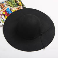 Шляпа женская широкополая черная опт, фото 1