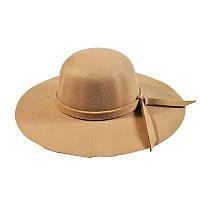 Шляпа женская широкополая бежевая опт, фото 1