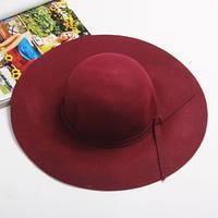 Широкополая женская шляпа бордовая опт, фото 1