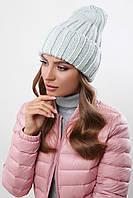 Молодежная теплая женская шапка-чулок с отворотом однотонная мята