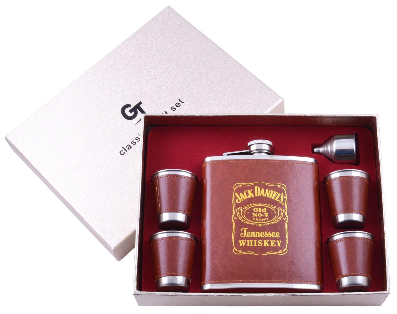 Подарочный набор Jack Daniel's Фляга/Рюмки/Лейка (Кожа) №TZ-04(2)