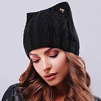 Черная вязаная шапка с ушками