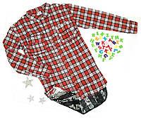 Рубашка удлиненная, спинка-пайетка, байка, размер М, L, полномерные, клетка