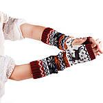 Перчатки (митенки) вязаные No Brend длинные бордовые