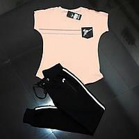 Летний спортивный костюм ZANOTTI пудра верх-черный низ AMN ТУРЦИЯ БРЕНД  ОРИГИНАЛ 203069ecc81