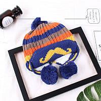 Зимняя шапка для мальчика с помпоном синяя опт, фото 1