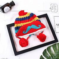 Зимняя шапка для девочки с помпоном красная опт, фото 1