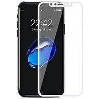 Защитное стекло Apple Iphone X Full cover белый 0,26мм в упаковке