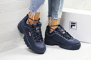 Кроссовки FILA, женские  синие кроссовки. ТОП качество!!!  Реплика