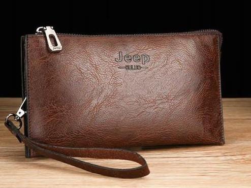 Мужской кошелек портмоне клатч Темно-коричневого цвета + ремень на руку