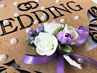 Свадебная бутоньерка Bonita сереневая (104)