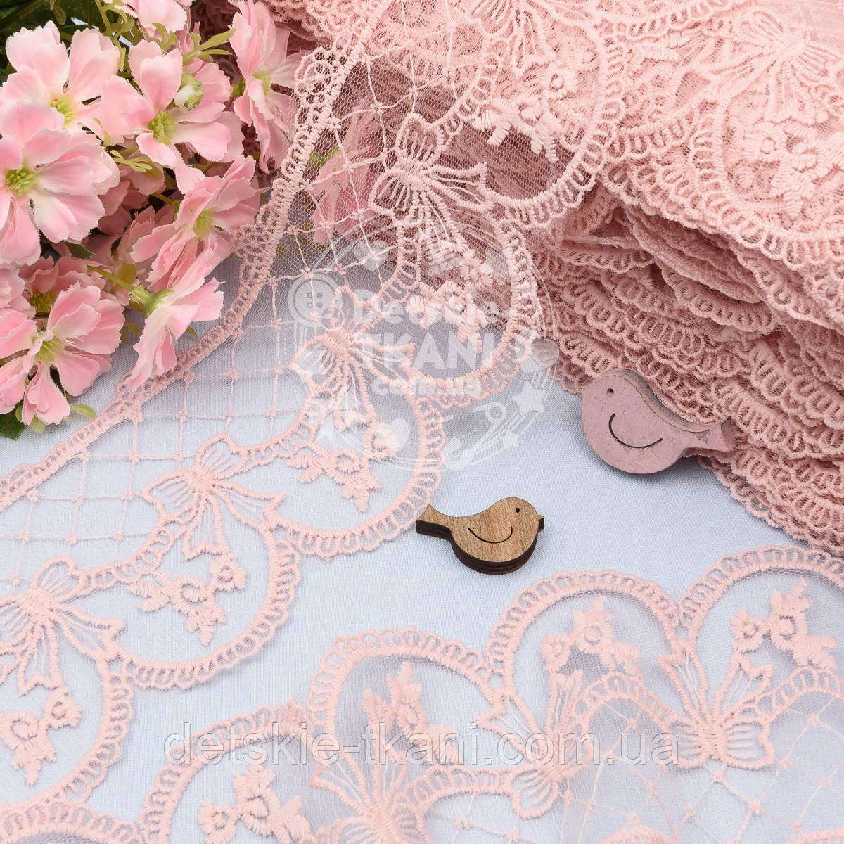 Кружево с бантиками и ромбами, цвет пыльной розы, ширина 10 см.