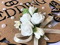 Свадебная бутоньерка Bonita кремовая (106)