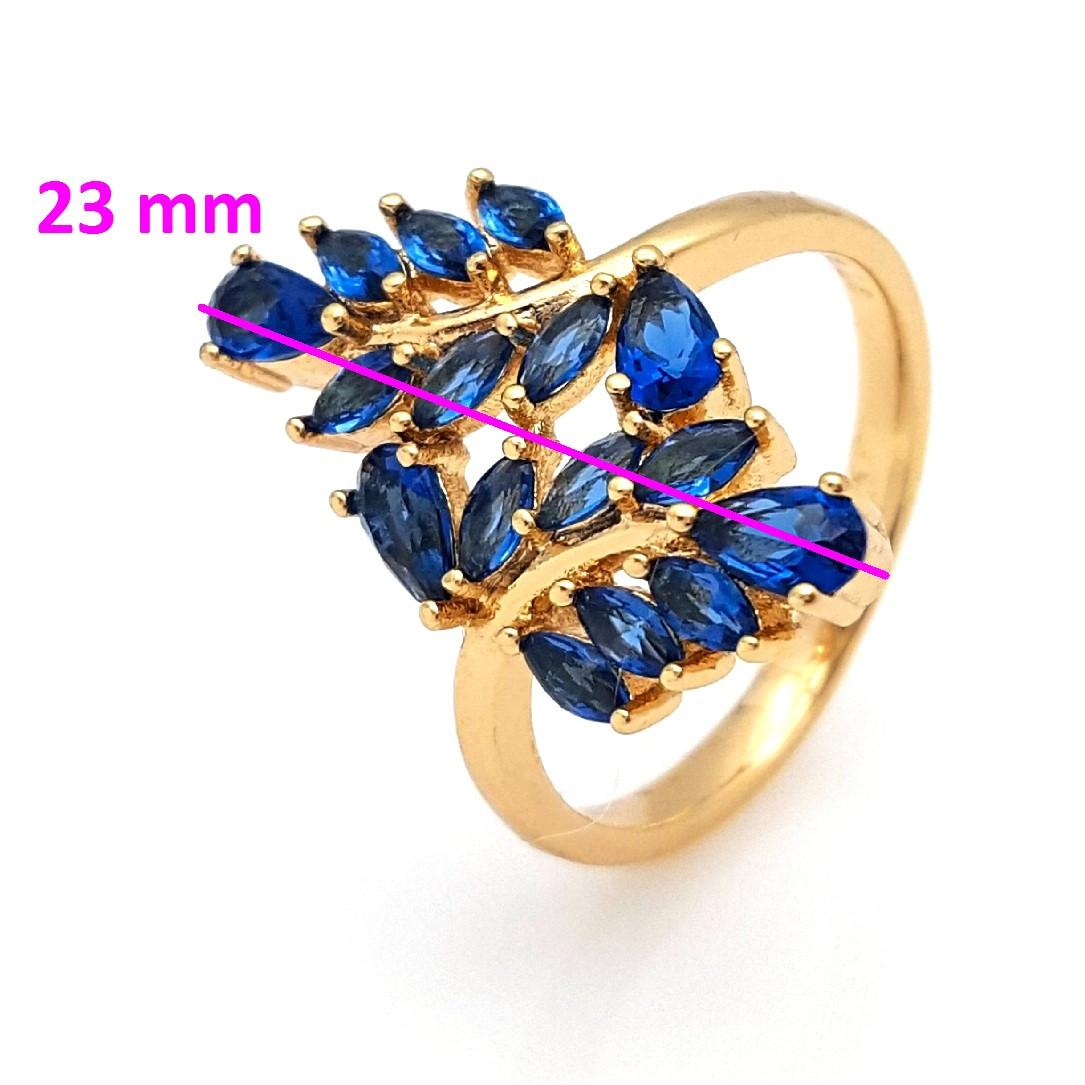 Кольцо Две Веточки с синим цирконием, р18, позолота