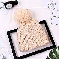 Женская шапка с большим помпоном зимняя бежевая опт, фото 1